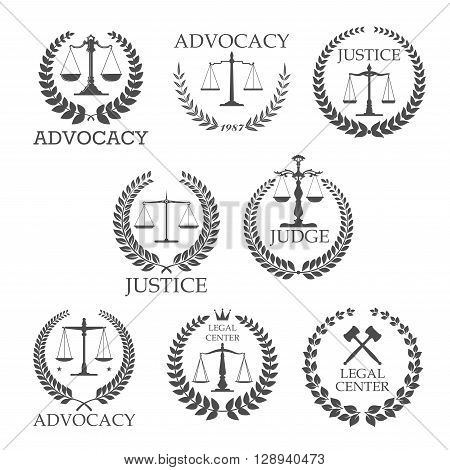 Legal protection and lawyer services design templates with crossed judge gavels and scales of justice, framed by laurel wreaths and text Advocacy, Justice, Judge, Legal Center