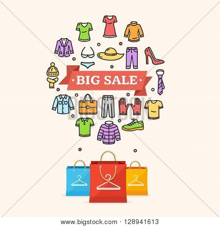 Big Sale Clothing Concept with Paper Bag . Vector illustration