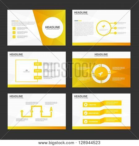 Yellow Orange presentation templates Infographic elements flat design set for brochure flyer leaflet marketing advertising