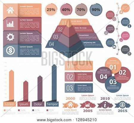 Infographic design elements - flowchart, bar graph, pyramid chart, process diagram, progress indicators, timeline, circle diagram, objects with numbers and text, vector eps10 illustration