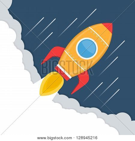 Yellow rocket in space, rocket launch, start-up concept, vector eps10 illustration