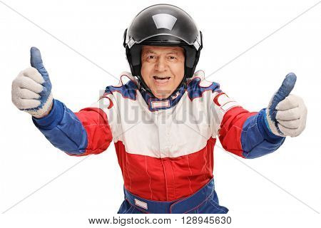 Studio shot of a mature car racer giving two thumbs up isolated on white background