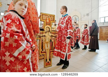 Lviv, Ukraine - April 27, 2016: Holy Week Passion And Death Of Jesus Christ. Crucifixion Of Jesus At