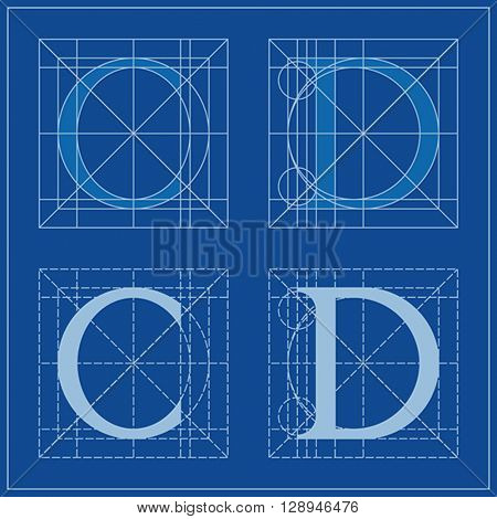 Designing Initials, letters C and D, blueprint.