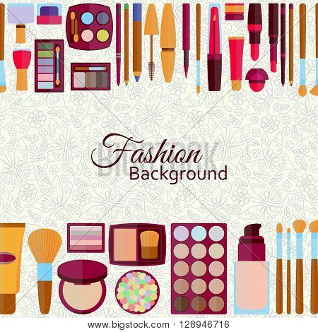 Fashion background. Flat icons collection. Decorative cosmetics for lips, skin, eyes, nails, eyebrows and beautycase. Make up set. Pattern with flowers and butterflies at the back. Vector illustration