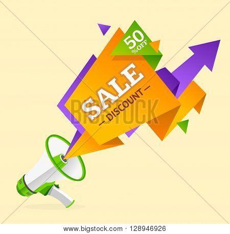 Discount Banner Sticker with Megaphone. Promotion Sales. Vector illustration