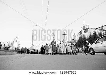 Lviv, Ukraine - April 27, 2016: Holy Week Passion And Death Of Jesus Christ. Black And White