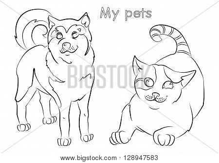 black and white image of a cat and dog- suitable for a child's coloring and not only. For your convenience each significant element is in a separate layer.
