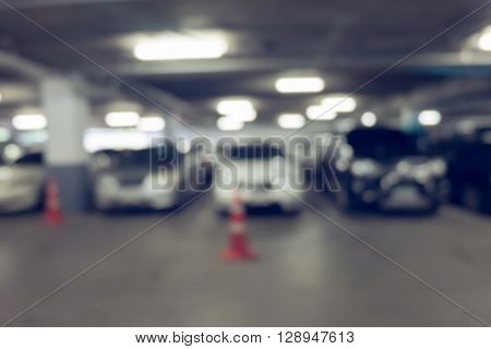 Image Blur Car Parking In Building