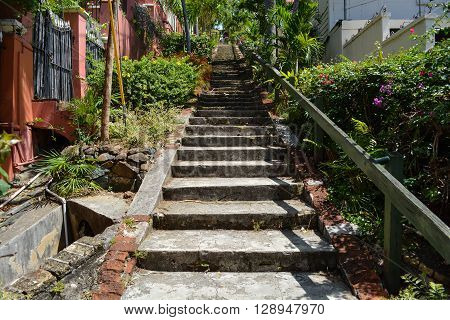 Famous 99 steps in St.Thomas, Virgin Islands.