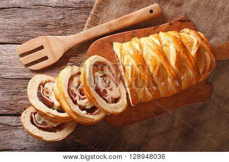 Venezuelan Cuisine: Christmas Loaf Pan De Jamon Close-up. Horizontal Top View
