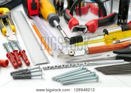 collection tools on white background