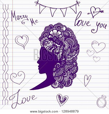 Wedding drawings. Sketch bride on notebook page.Hand drawn wedding template. Wedding invitation in doodle style.Merry me. Love. Hairstyle. Doodle bride head.