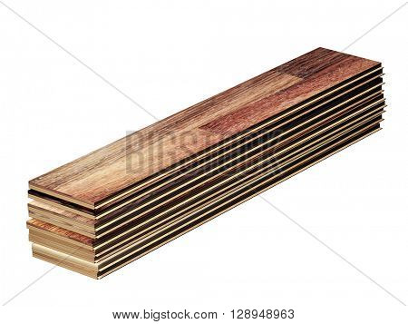 New oak parquet. Isolated on white background. 3d render