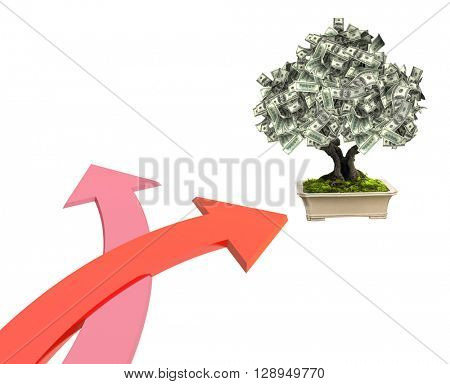 3d money tree dollar banknotes and two bound arrows of red color, specifying different directions. Isolated on white background