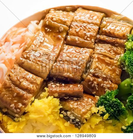 The close up of Japanese grilled eel and rice on bowl set.