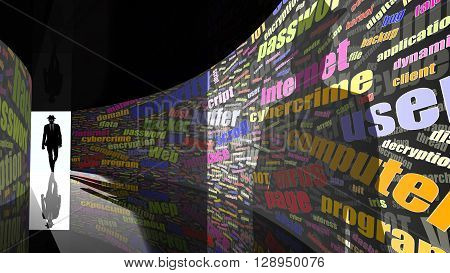 A silhouette of a hacker with a black hat in a suit enters a hallway with walls textured with random information security words 3D illustration cybersecurity concept