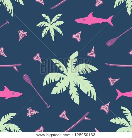 Night tropical surfing vector seamless pattern with leaves of palm trees shark shark teeth surf boards and paddles.