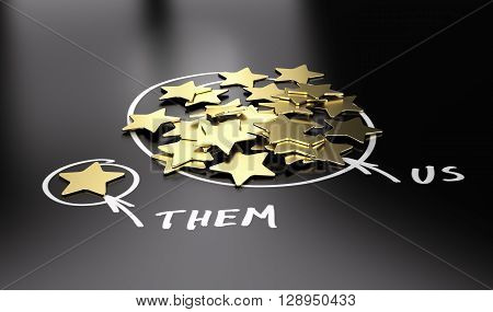 3D illustration of golden stars over black background to be used for comparison between your company and our competitors.