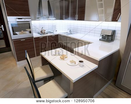 Modern zebrano kitchen design. Elegant kitchen with breakfast bar and chairs. Unusual shapes in cabinets white acrylic countertops and white tiled backsplash. 3D render