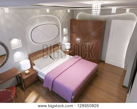 Eclectic bedroom trend. The main contrast between white and brown color - brown floors and furniture and white walls. 3D render