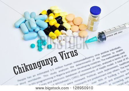 Syringe with drugs for Chikungunya virus treatment