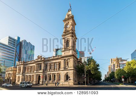 Adelaide Australia - January 3 2016: Adelaide GPO Post Shop with tower bell located at Victoria Square in Adelaide CBD. Australia Post provides postal services in Australia and its overseas territories.