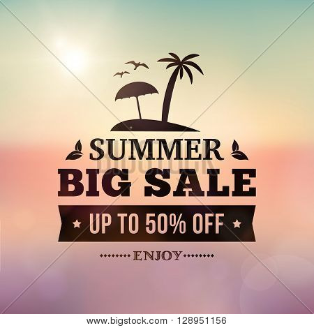 Summer big sale business advertisement sign on blurred holidays background. editable vector business summer sale poster.