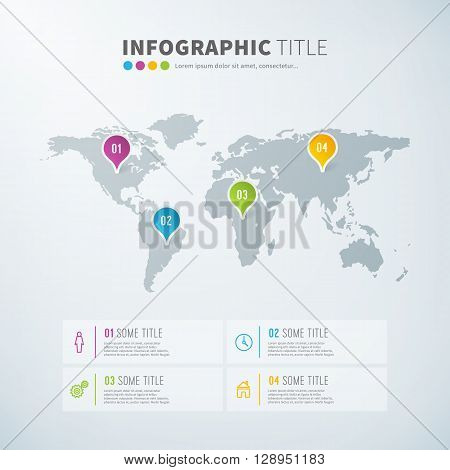 Business infographic world map statistics template with icons for reports and presentations. Vector world map infographic illustration background.