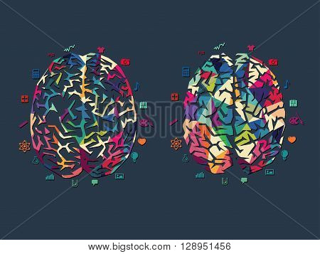 vector illustration of colourful brain on dark background