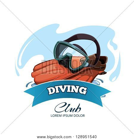 Vector emblem with Water mask and red flippers on water splash. Diving club logotype in retro style
