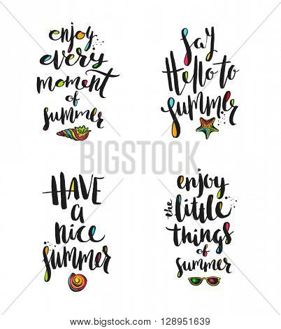 Set of Summer holidays greetings. Summer greeting. Summer quote. Summer vacation. Summer vector. Summer illustration. Summer travel. Summer calligraphy. Summer rest. Tropical summer. Summer lettering.