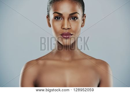 Single Beautiful Woman Over Gray Background