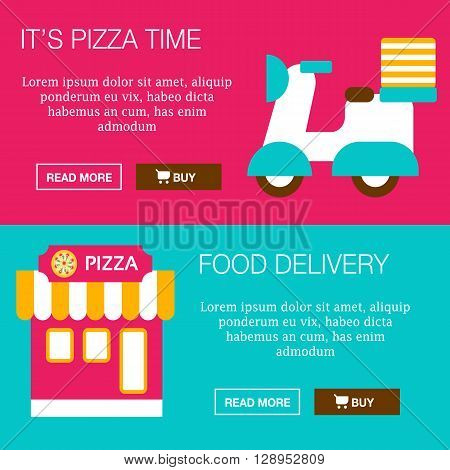 Flat design concepts for business food delivery good idea. Concepts for web banners promotional materials illustrations. Vector. Very easy to edit.