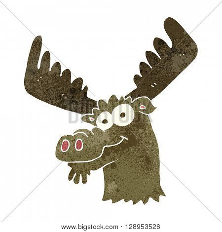 freehand retro cartoon moose