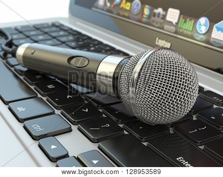 Microphone on the laptop keyboard. Digital audio  music software or karaoke concept. 3d illustration