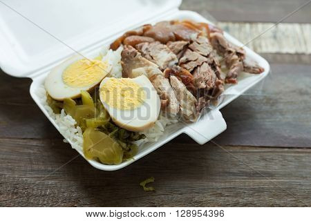 Thai Food, Lunch Box Stewed Pork Leg On Rice With Boiled Egg