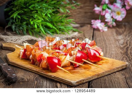 Raw Beef Skewers Ready For Grilling