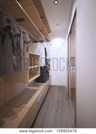Idea of minimalist walk-in wardrobe. White walls dark hardwood flooring glass doors. 3D render