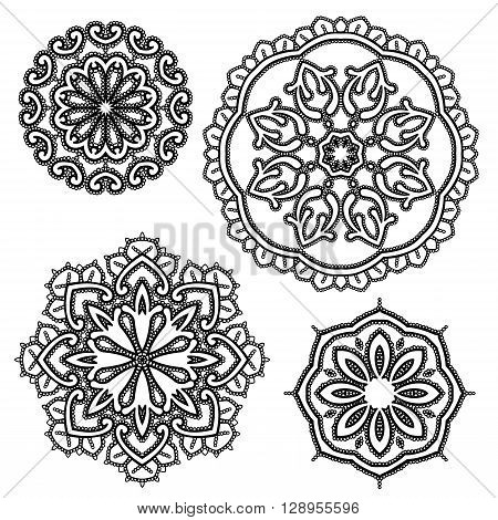 Set of Round floral lace ornaments - black on white background. Elements for holiday card wedding invitation vintage style design.