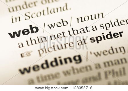 Close Up Of Old English Dictionary Page With Word Web.