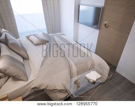 Guest bedroom modern style. Unmade bed with pillows in beige and cream colors. White walls dark zebrano parquet. Glass console with decoration. 3D render
