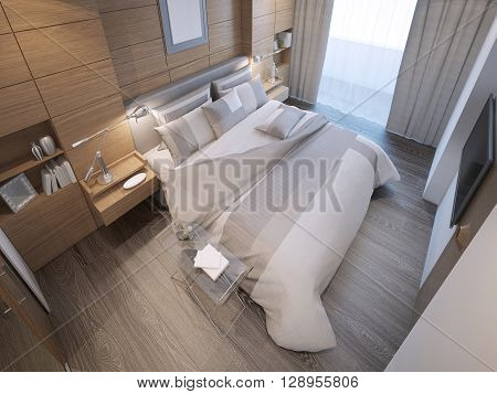 Design of loft hotel bedroom. Decorated by wooden paneling forms a strong focal point behind the bed. 3D render