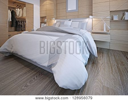 Idea of contemporary bedroom. Master bedroom with walk-in closet. White walls with decorative wood panels hardwood flooring. 3D render