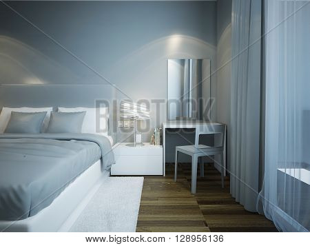 Blue bedroom techno style with brown parquet flooring. Dressed bed with soft mattress. Dressing table with great mirror without frame. 3D render