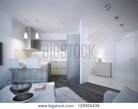 Contemporary kitchen studio design. Acryl backsplash and countertop bar with two chairs. 3D render