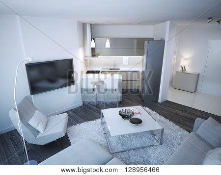 Techno lounge room studio. Minimalistic acryl kitchen and elegance entrance. 3D render