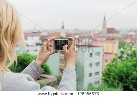 Female Tourist Photographing View Cluj Napoca. Traveling Romania