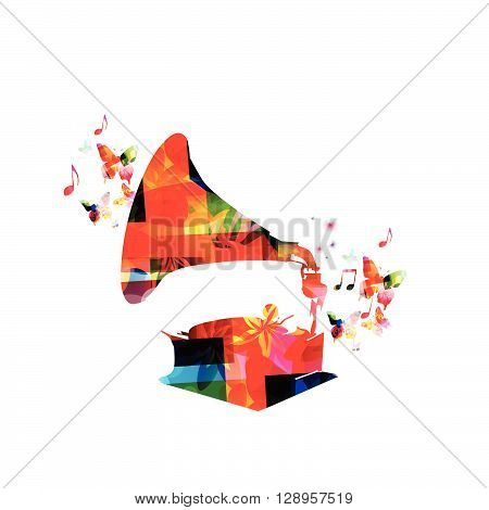 Colorful gramophone design with butterflies. Vector illustration