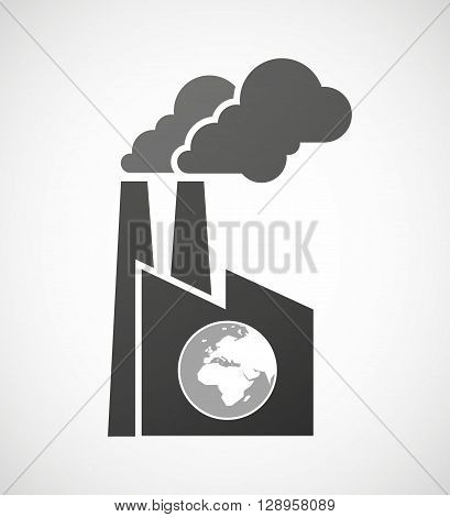 Isolated Industrial Factory Icon With   An Asia, Africa And Europe Regions World Globe